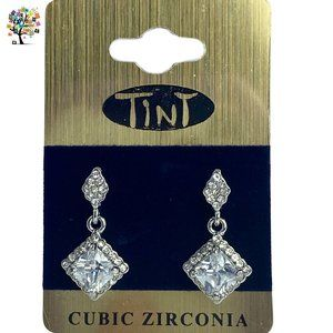Cubic Zirconia Earrings Drop Stud